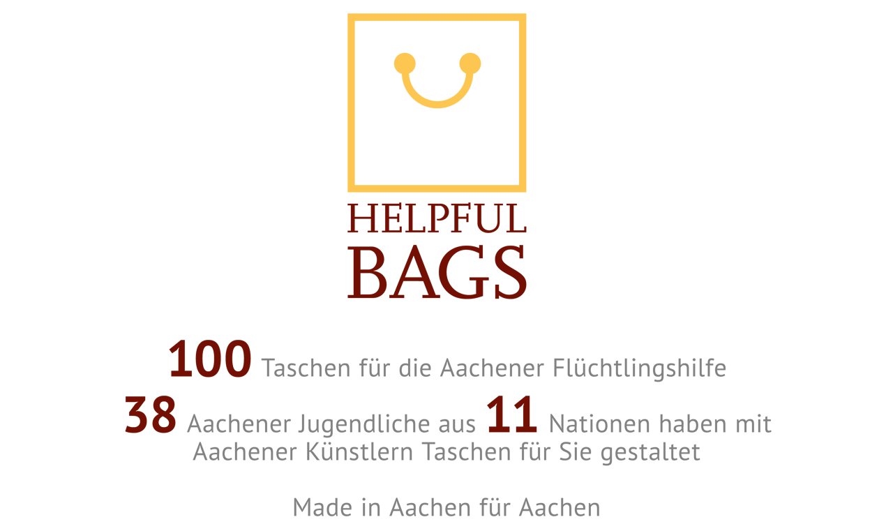 100 Taschen für die Aachener Flüchtlingshilfe. 38 Aachener Jugendliche aus 11 Nationen haben mit Aachener Künstlern Taschen für Sie gestaltet. Made in Aachen für Aachen.